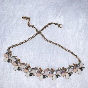 Classy Peach, White & Diamond Statement Necklace